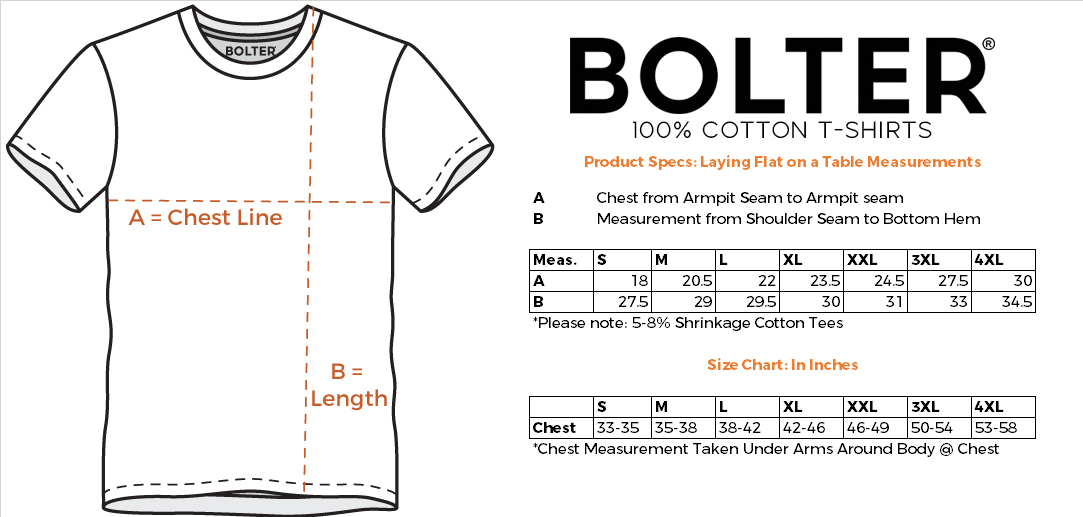 Cotton T-shirt Size Chart in Inches by Bolter